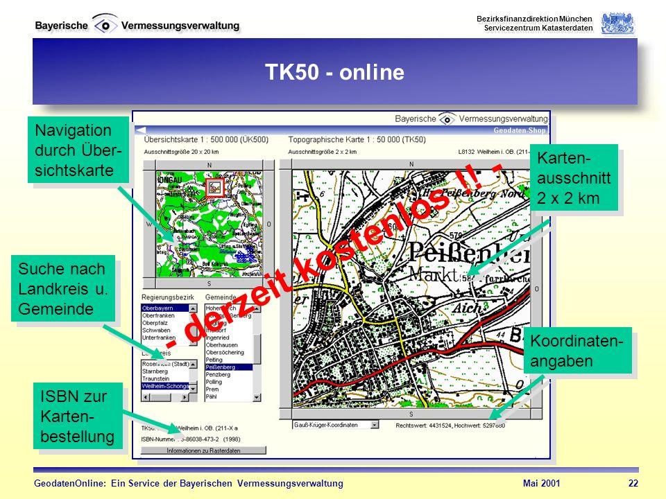 - derzeit kostenlos !! - TK50 - online Navigation