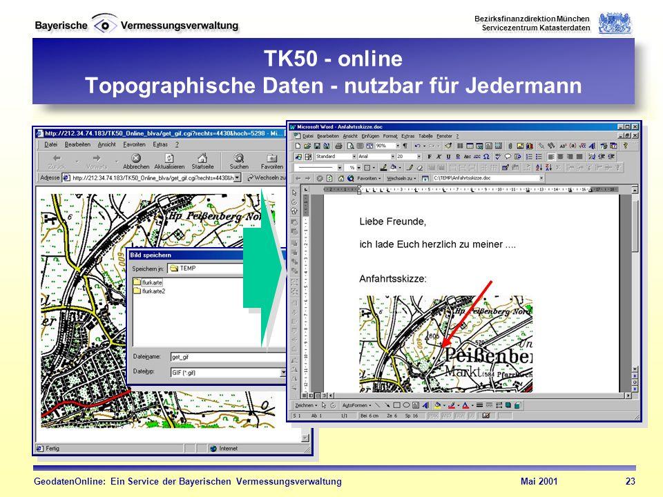 TK50 - online Topographische Daten - nutzbar für Jedermann