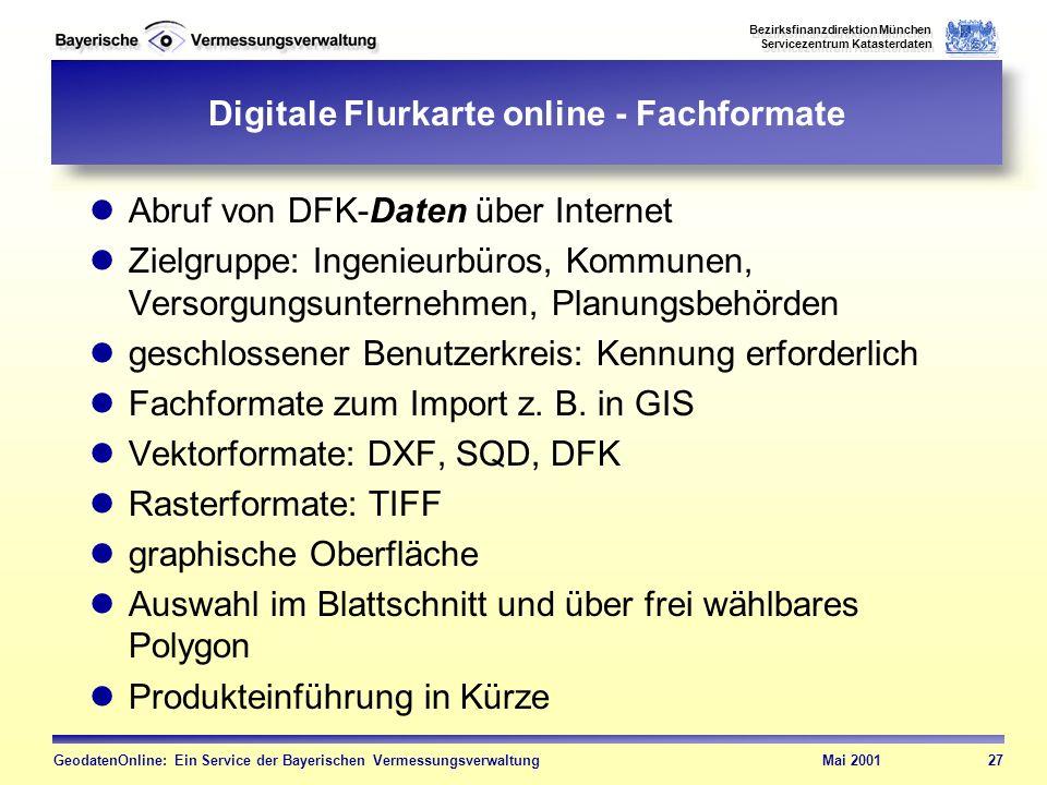 Digitale Flurkarte online - Fachformate
