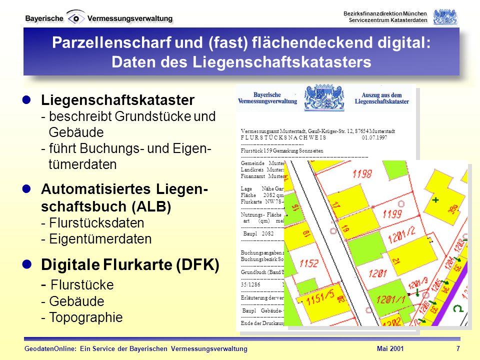 Digitale Flurkarte (DFK) - Flurstücke - Gebäude - Topographie