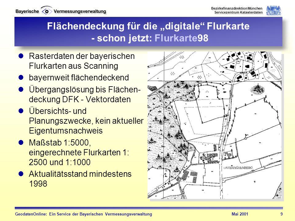 """Flächendeckung für die """"digitale Flurkarte - schon jetzt: Flurkarte98"""