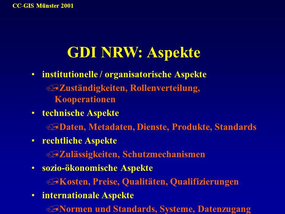GDI NRW: Aspekte institutionelle / organisatorische Aspekte