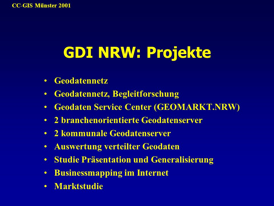 GDI NRW: Projekte Geodatennetz Geodatennetz, Begleitforschung