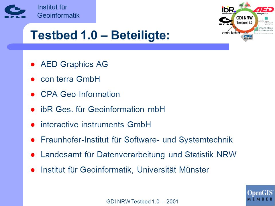Testbed 1.0 – Beteiligte: AED Graphics AG con terra GmbH