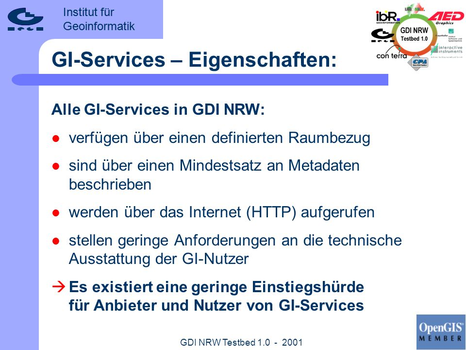 GI-Services – Eigenschaften:
