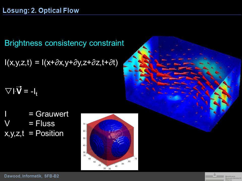 Brightness consistency constraint I(x,y,z,t) = I(x+∂x,y+∂y,z+∂z,t+∂t)