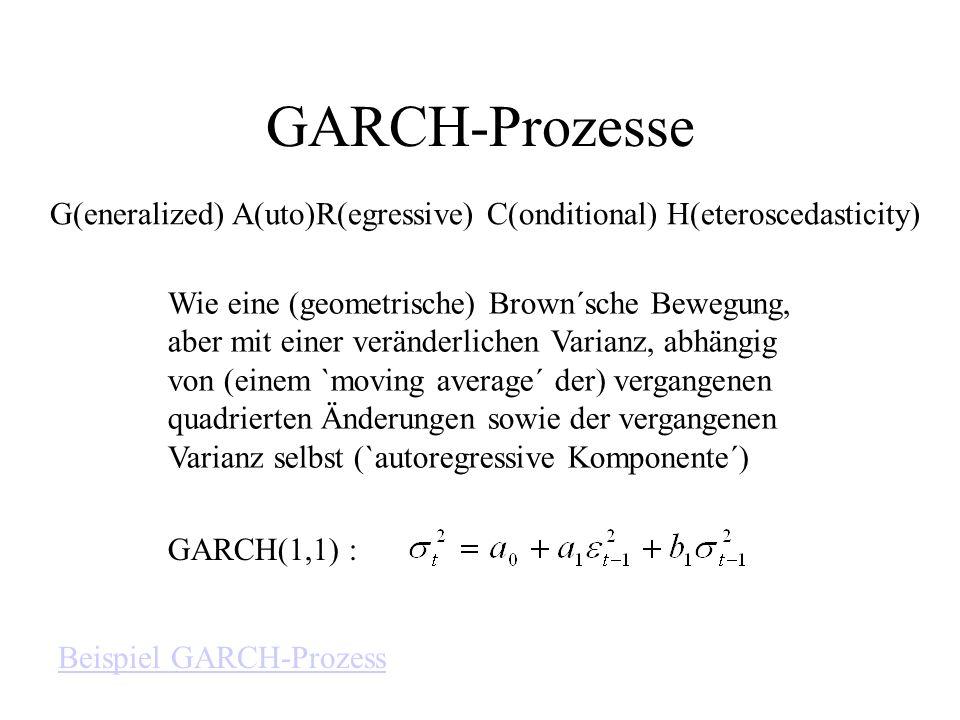 GARCH-Prozesse G(eneralized) A(uto)R(egressive) C(onditional) H(eteroscedasticity) Wie eine (geometrische) Brown´sche Bewegung,