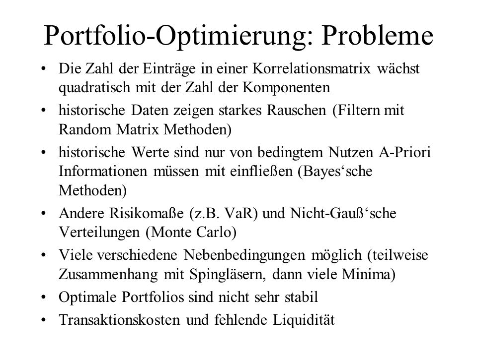 Portfolio-Optimierung: Probleme