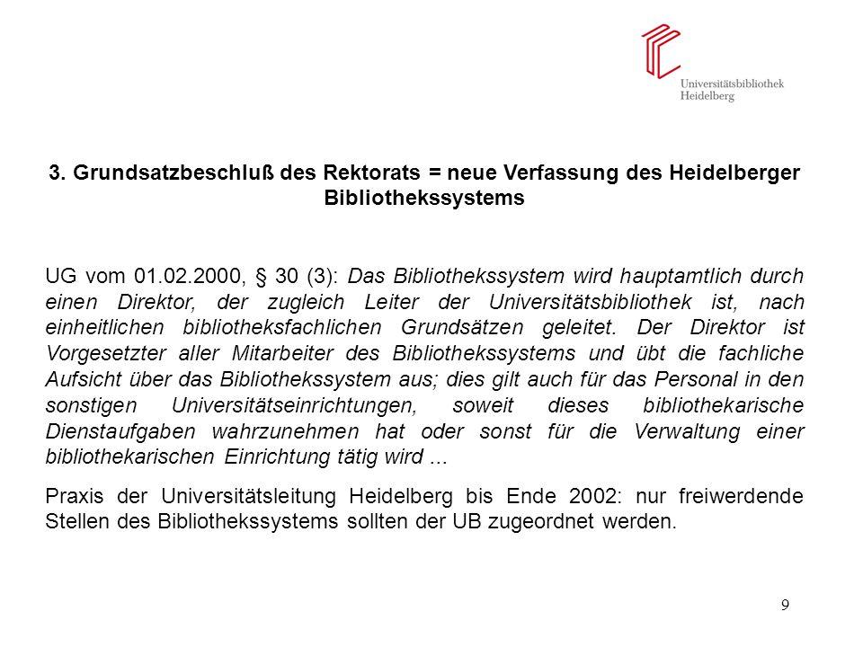 3. Grundsatzbeschluß des Rektorats = neue Verfassung des Heidelberger Bibliothekssystems
