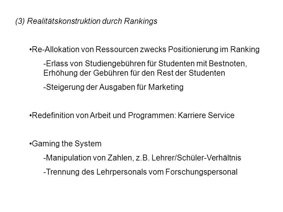 (3) Realitätskonstruktion durch Rankings