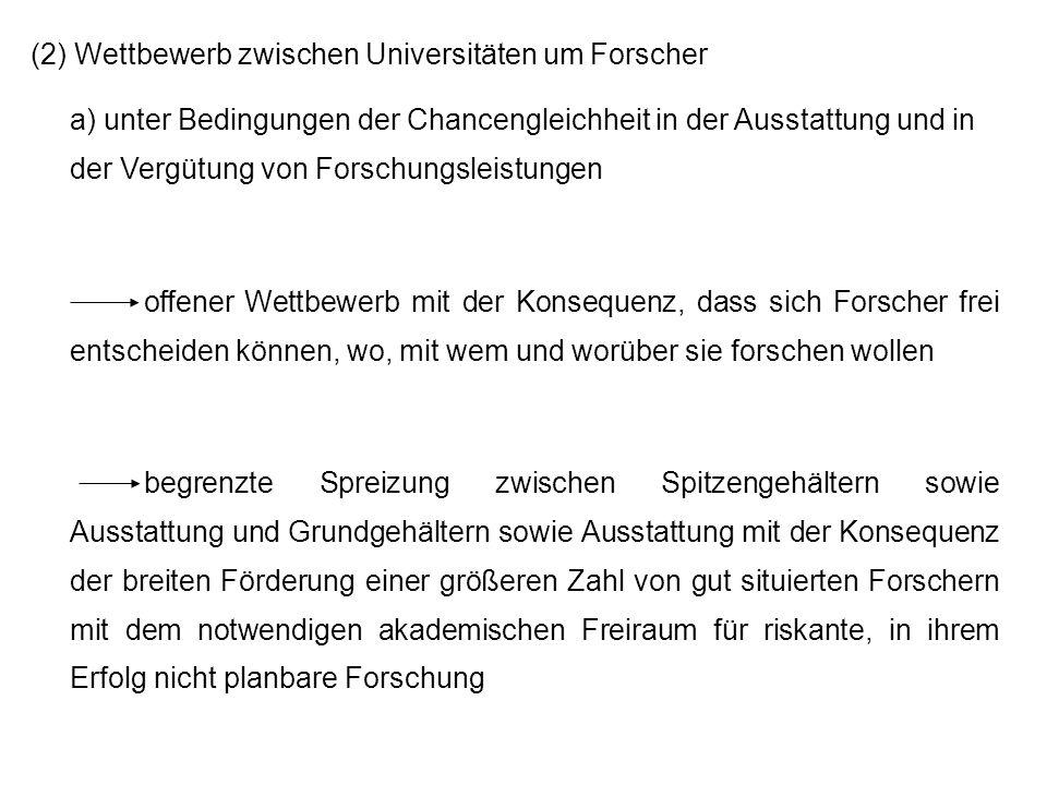(2) Wettbewerb zwischen Universitäten um Forscher
