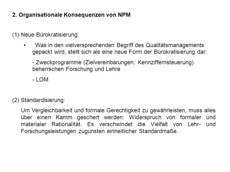 2. Organisationale Konsequenzen von NPM