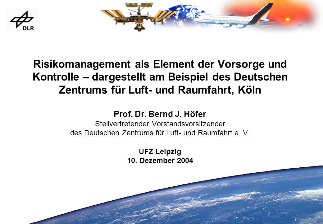 Risikomanagement als Element der Vorsorge und Kontrolle – dargestellt am Beispiel des Deutschen Zentrums für Luft- und Raumfahrt, Köln Prof.