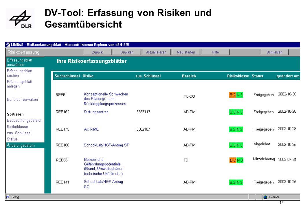 DV-Tool: Erfassung von Risiken und Gesamtübersicht