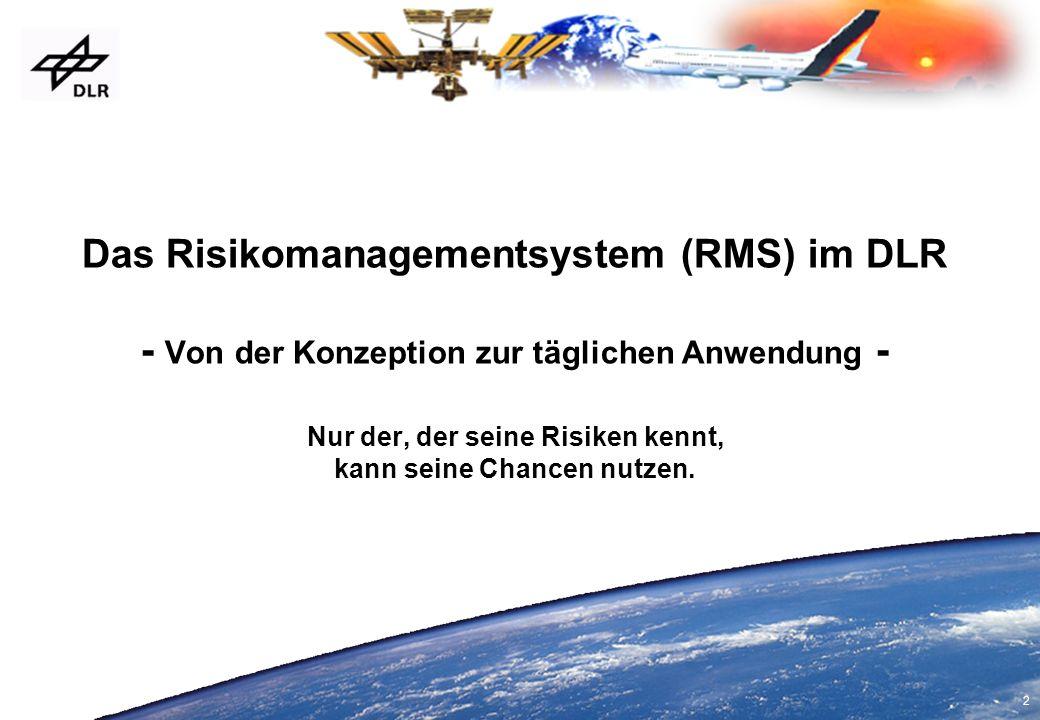 Das Risikomanagementsystem (RMS) im DLR - Von der Konzeption zur täglichen Anwendung - Nur der, der seine Risiken kennt, kann seine Chancen nutzen.