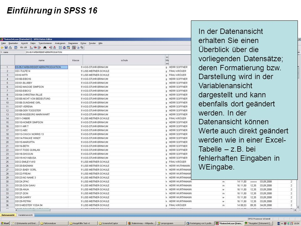 Einführung in SPSS 16