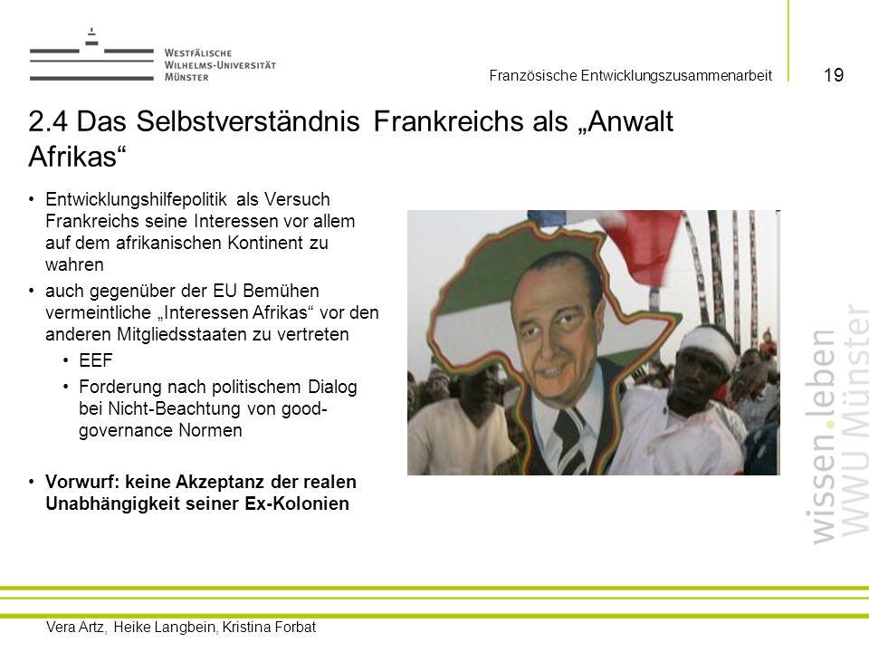 """2.4 Das Selbstverständnis Frankreichs als """"Anwalt Afrikas"""