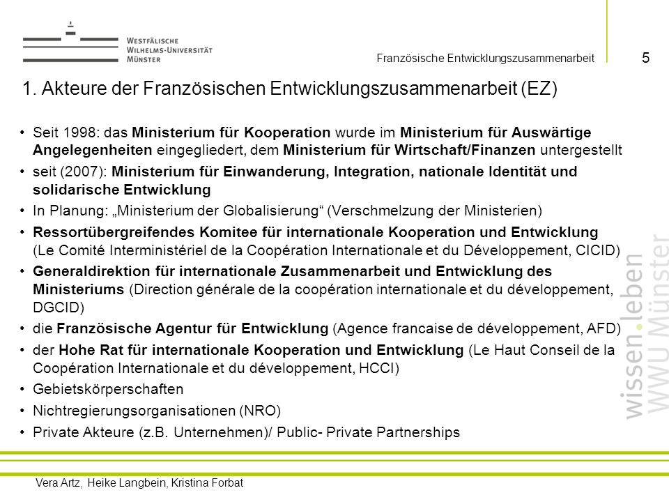 1. Akteure der Französischen Entwicklungszusammenarbeit (EZ)