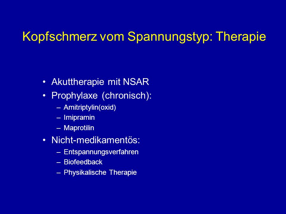 Kopfschmerz vom Spannungstyp: Therapie