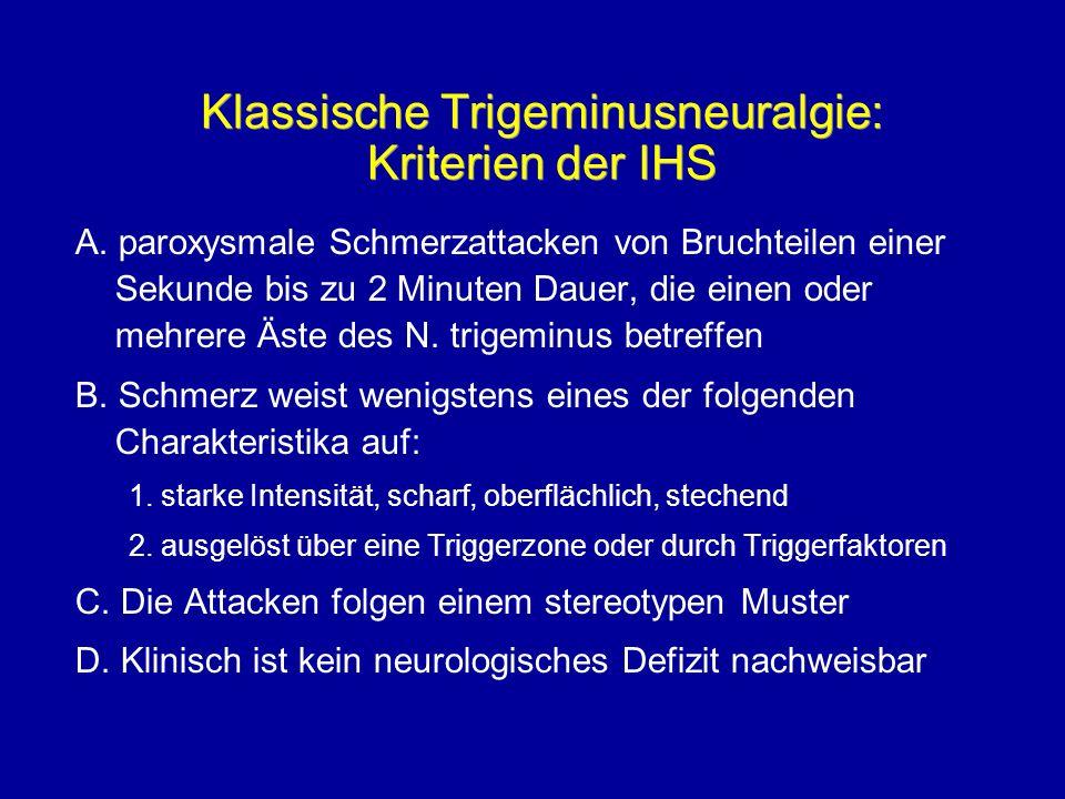 Klassische Trigeminusneuralgie: Kriterien der IHS