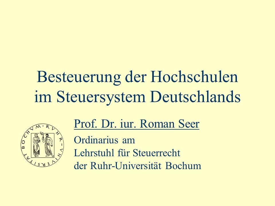 Besteuerung der Hochschulen im Steuersystem Deutschlands