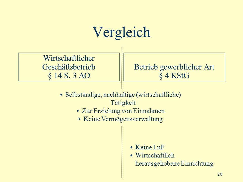 Vergleich Wirtschaftlicher Geschäftsbetrieb § 14 S. 3 AO