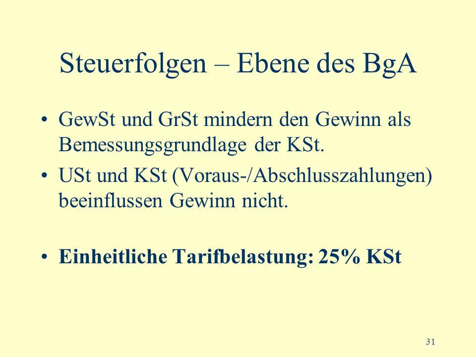Steuerfolgen – Ebene des BgA