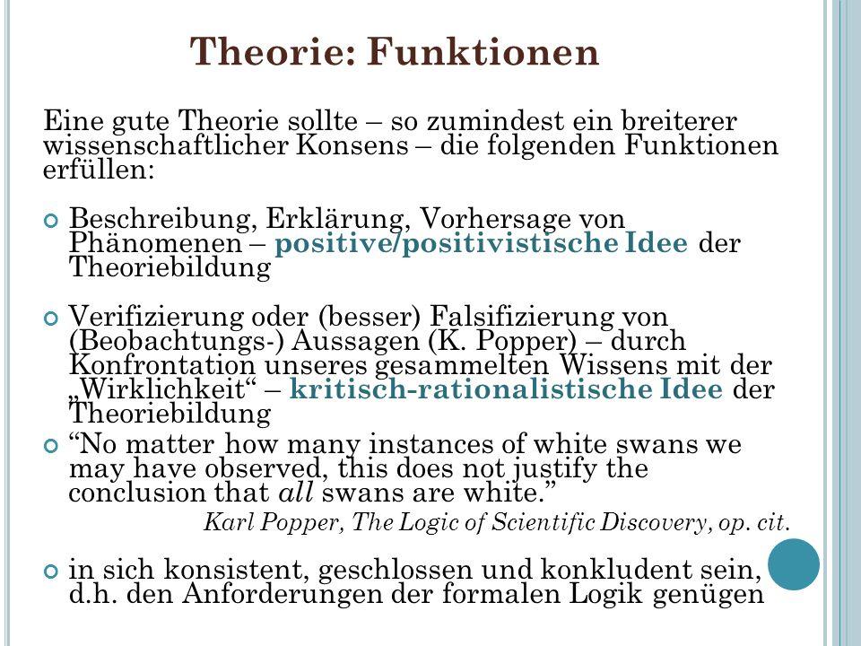 Theorie: FunktionenEine gute Theorie sollte – so zumindest ein breiterer wissenschaftlicher Konsens – die folgenden Funktionen erfüllen: