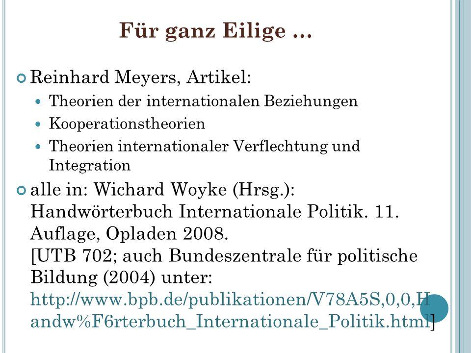 Für ganz Eilige … Reinhard Meyers, Artikel: