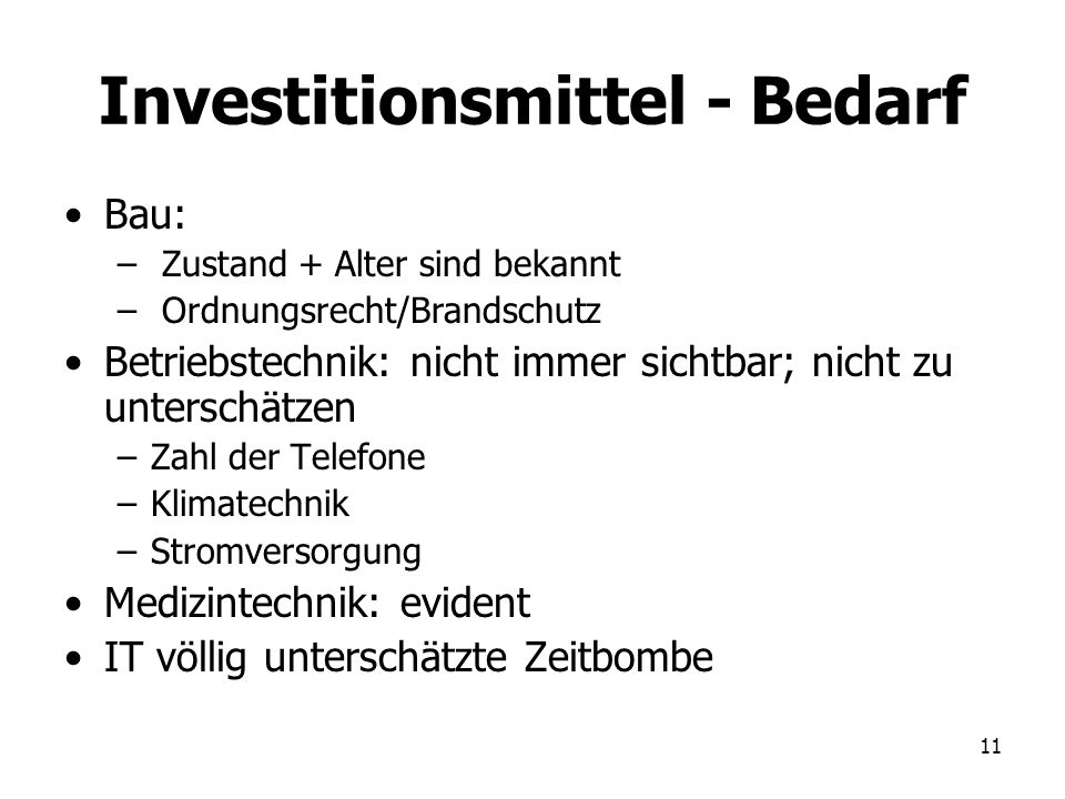 Investitionsmittel - Bedarf