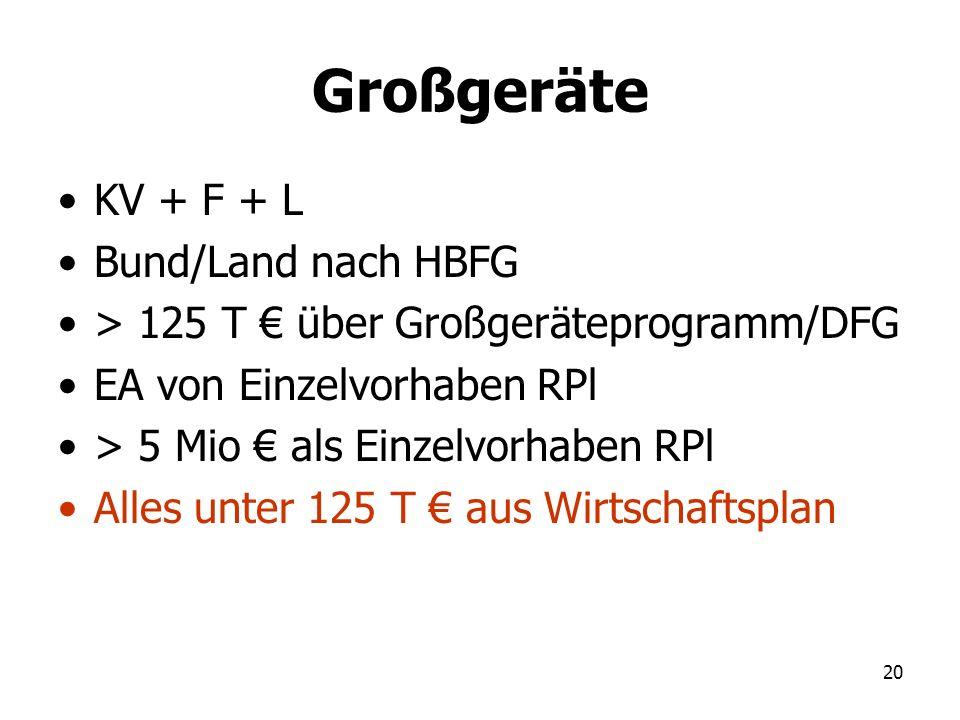 Großgeräte KV + F + L Bund/Land nach HBFG