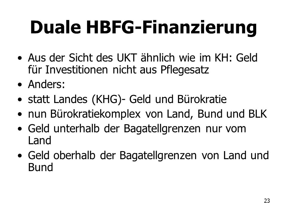 Duale HBFG-Finanzierung