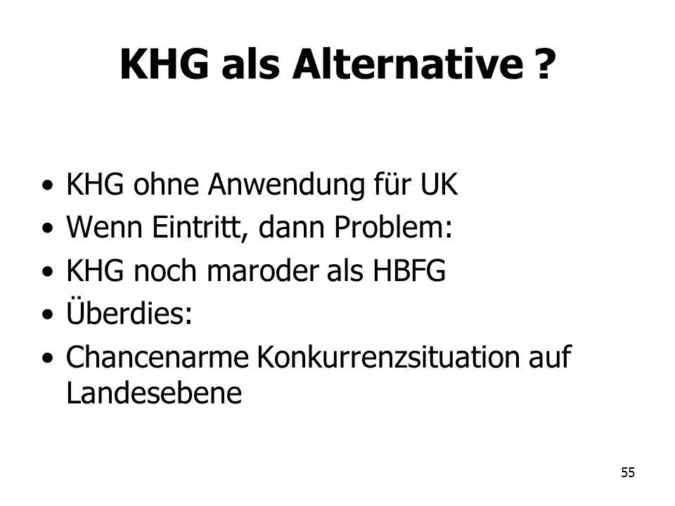 KHG als Alternative KHG ohne Anwendung für UK