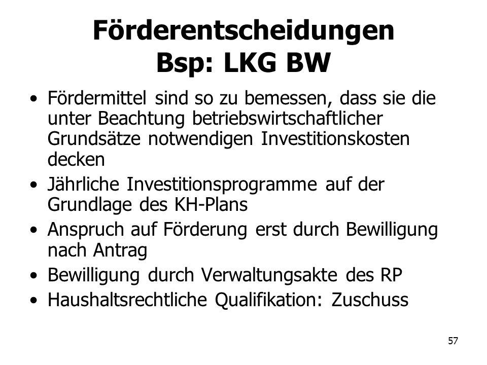 Förderentscheidungen Bsp: LKG BW