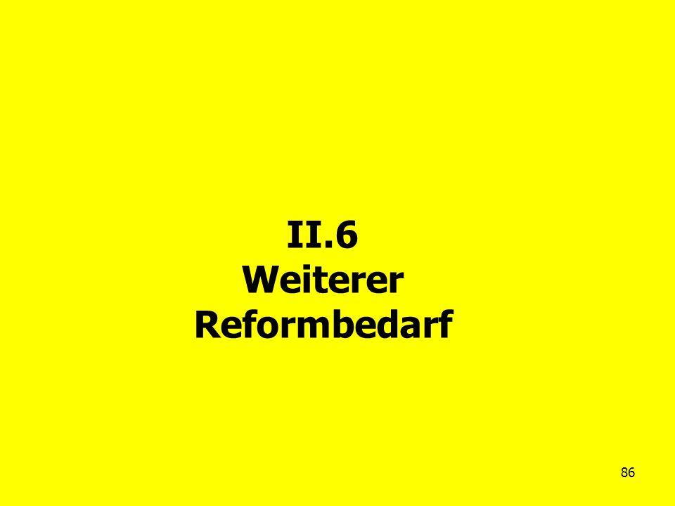 II.6 Weiterer Reformbedarf