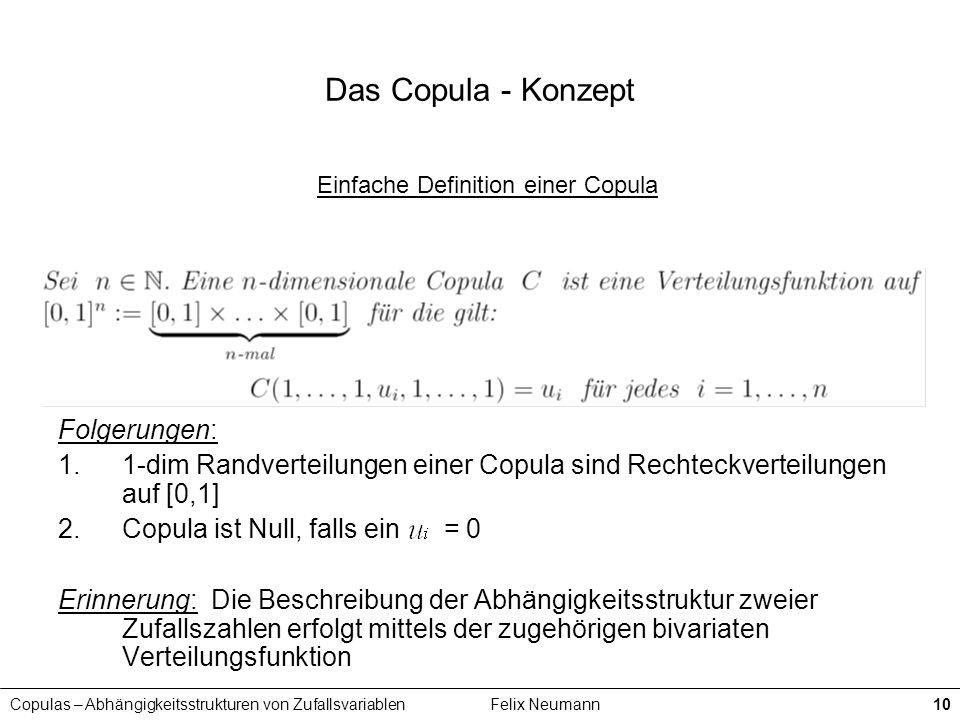 Einfache Definition einer Copula