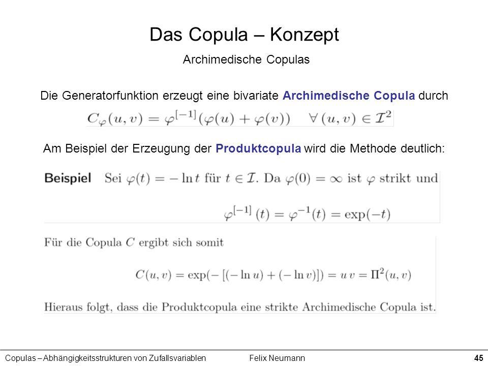 Das Copula – Konzept Archimedische Copulas