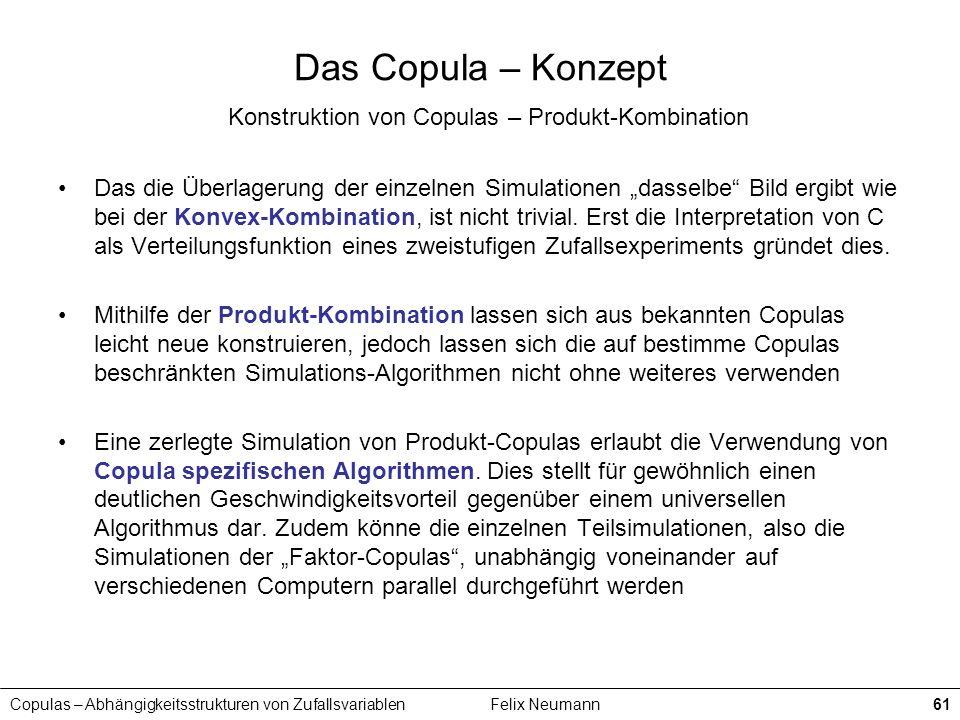 Das Copula – Konzept Konstruktion von Copulas – Produkt-Kombination
