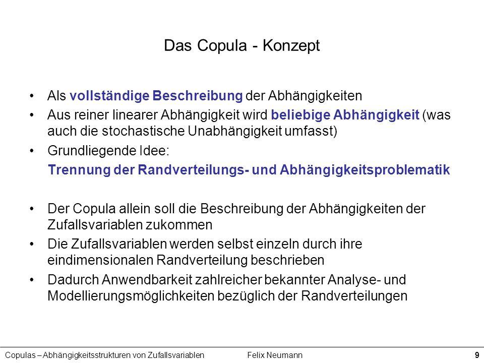 Das Copula - Konzept Als vollständige Beschreibung der Abhängigkeiten