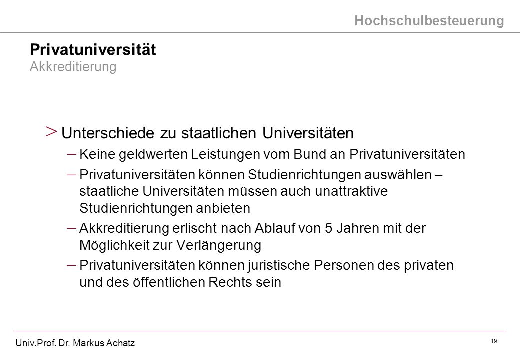 Privatuniversität Akkreditierung
