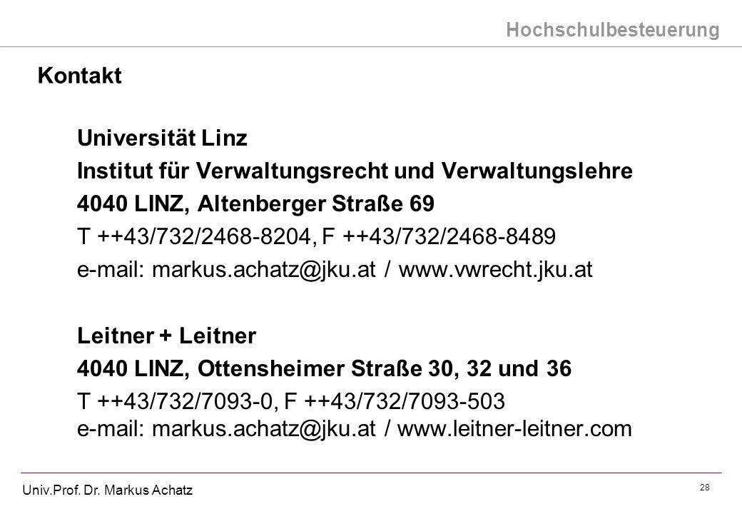 KontaktUniversität Linz. Institut für Verwaltungsrecht und Verwaltungslehre. 4040 LINZ, Altenberger Straße 69.