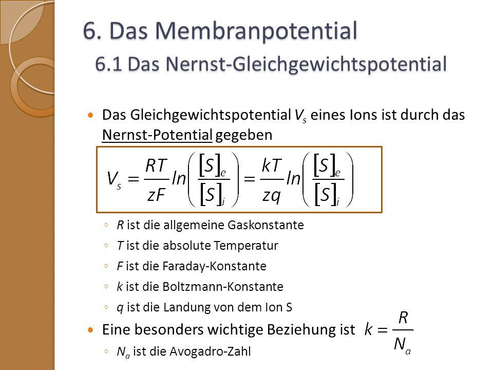 6. Das Membranpotential 6.1 Das Nernst-Gleichgewichtspotential