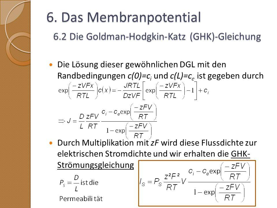 6. Das Membranpotential 6.2 Die Goldman-Hodgkin-Katz (GHK)-Gleichung