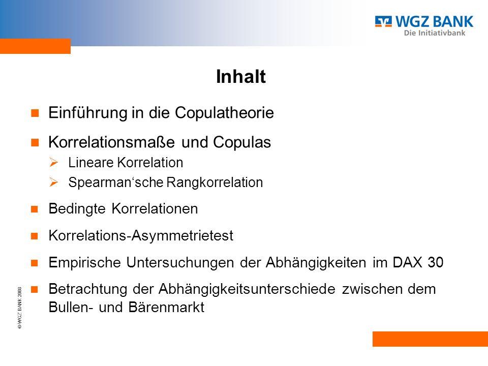 Inhalt Einführung in die Copulatheorie Korrelationsmaße und Copulas