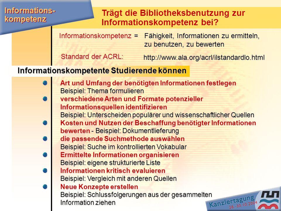 Trägt die Bibliotheksbenutzung zur Informationskompetenz bei