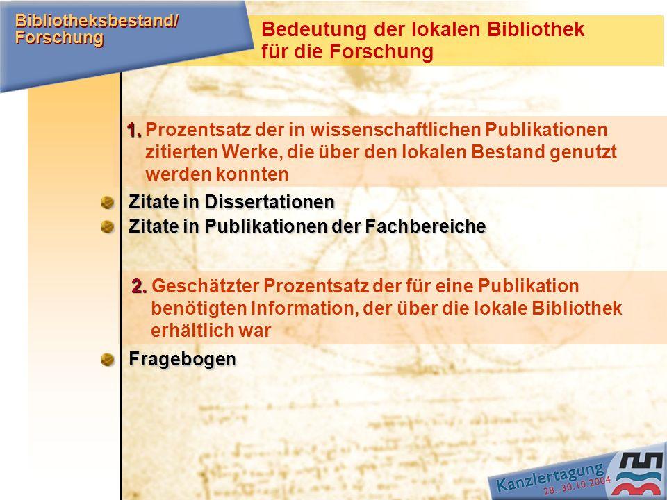 Bedeutung der lokalen Bibliothek für die Forschung