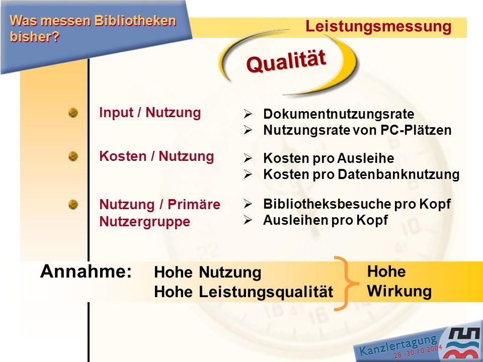Qualität Annahme: Leistungsmessung Hohe Hohe Nutzung Wirkung