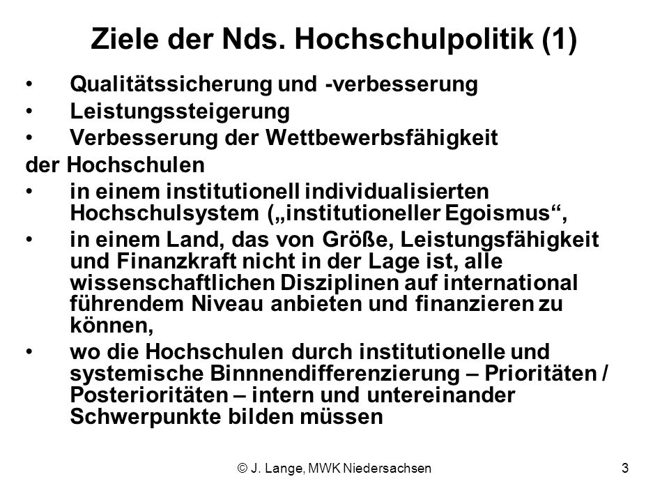 Ziele der Nds. Hochschulpolitik (1)