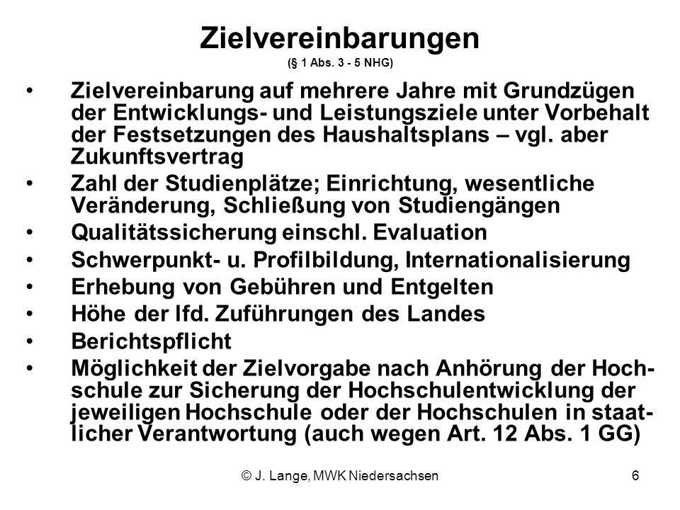 Zielvereinbarungen (§ 1 Abs. 3 - 5 NHG)
