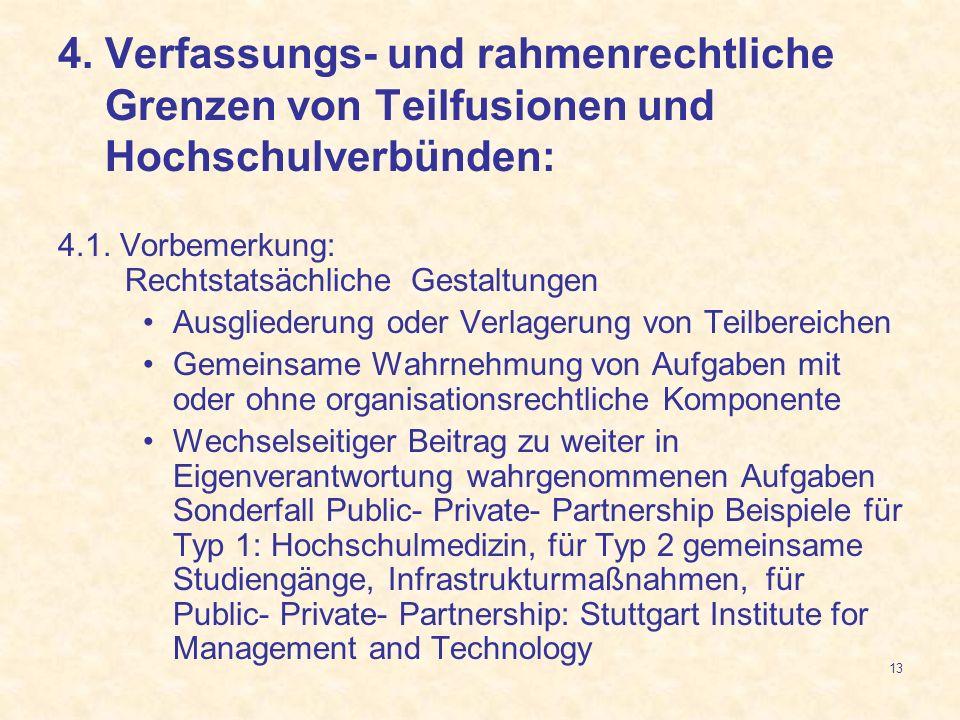 4. Verfassungs- und rahmenrechtliche Grenzen von Teilfusionen und Hochschulverbünden: